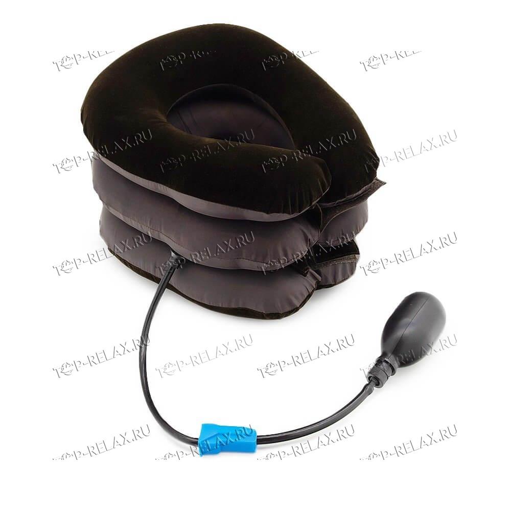 Надувной воротник для шеи флок+ткань коричневый