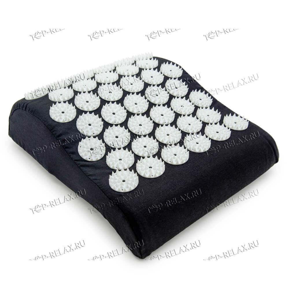 Массажная акупунктурная подушка (анатомическая) EcoRelax, черный