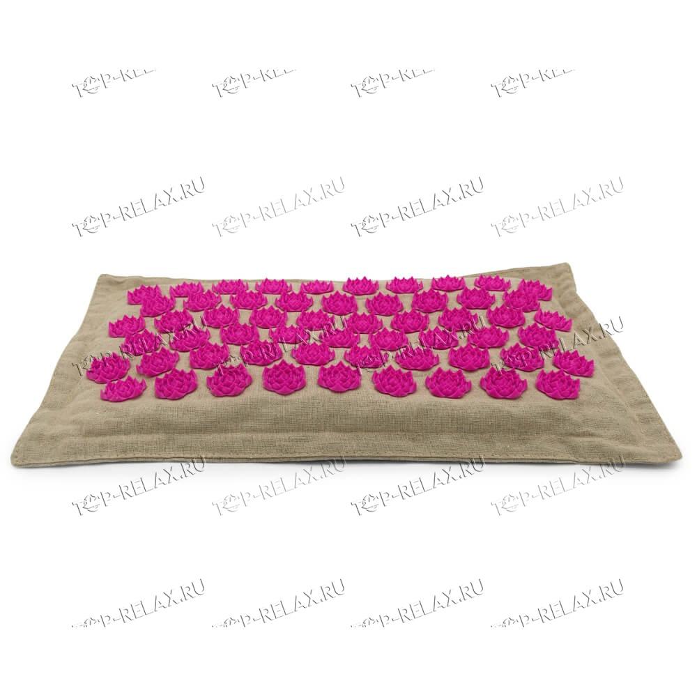 Массажная акупунктурная подушка (квадратная) EcoRelax, розовый - 2