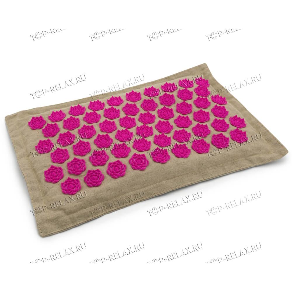 Массажная акупунктурная подушка (квадратная) EcoRelax, розовый