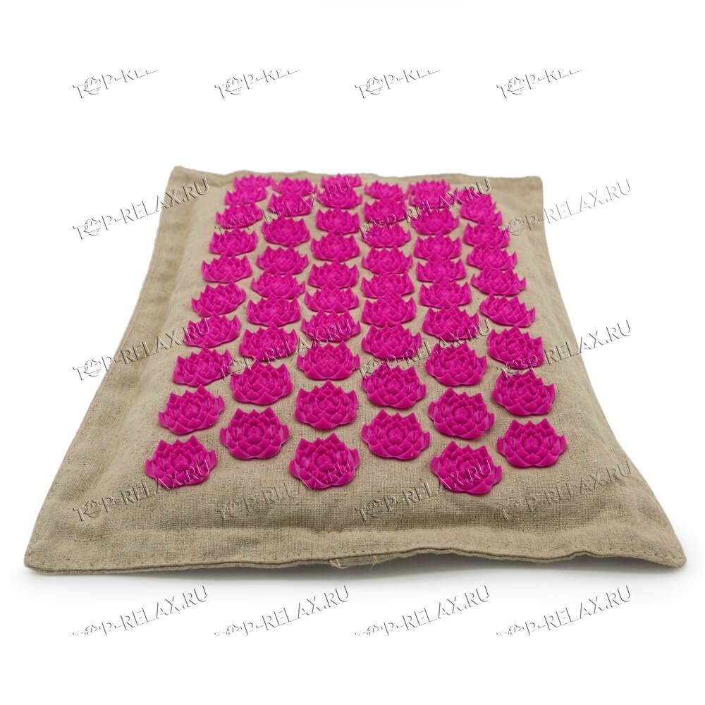 Массажная акупунктурная подушка (квадратная) EcoRelax, розовый - 3