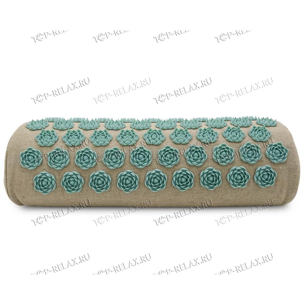 Массажная акупунктурная подушка (валик) EcoRelax, белый - 2