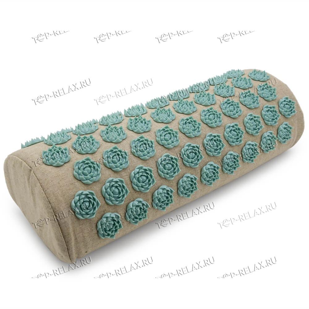 Массажная акупунктурная подушка (валик) EcoRelax, белый