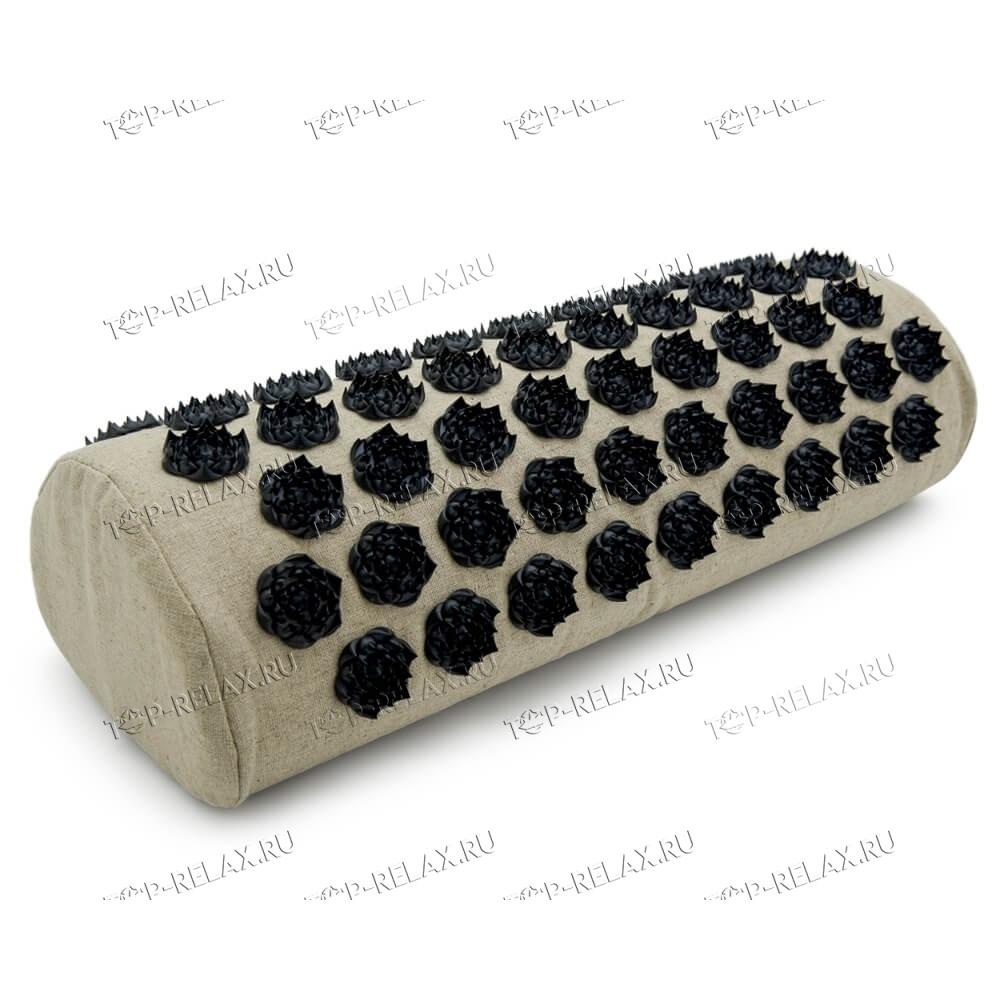 Массажная акупунктурная подушка (валик) EcoRelax, черный