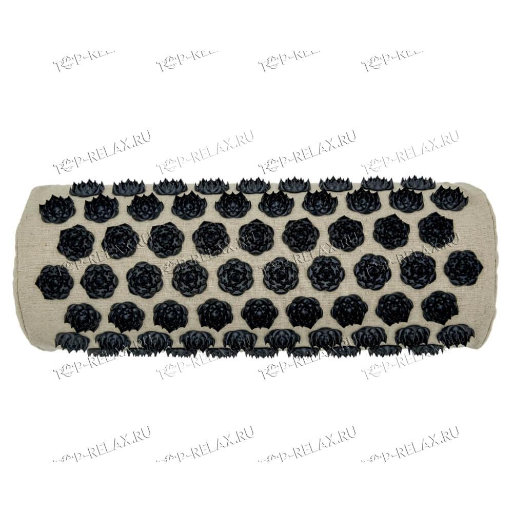 Массажная акупунктурная подушка (валик) EcoRelax, черный - 3